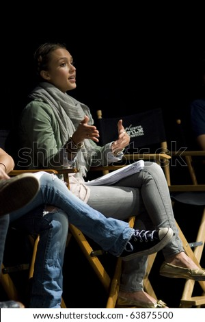 AUSTIN,TX - OCTOBER 24:  Jessica Alba talks to the audience  about ' The Hand Job ' Script at the Rollins Theatre during the 17th Annual Austin Film Festival on October 24, 2010 in Austin, TX. - stock photo