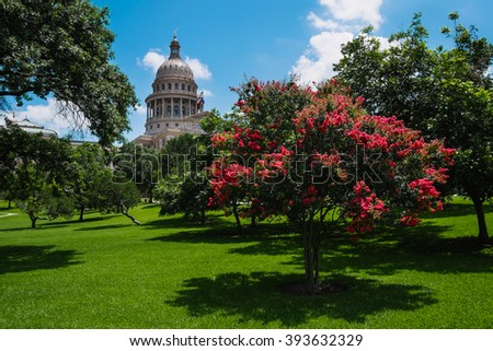 Austin, TX, USA - July 5, 2014: The Texas State Capitol building on a sunny day on July 5, 2014 in Austin, Texas.