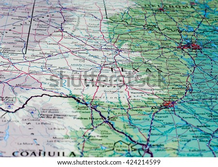 AUSTIN, USA - CIRCA MAY 2016: Map of Texas with selective focus on name of state - stock photo