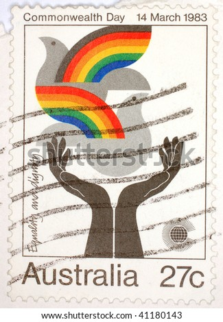AUSTRALIA - 1983: A stamp printed in Australia shows image celebrating Commonwealth Day 1983, series, 1983 - stock photo