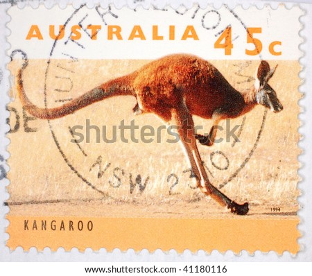 AUSTRALIA - 1994: A stamp printed in Australia shows image of a kangaroo, series, 1994 - stock photo