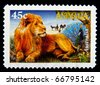 AUSTRALIA - 1996: An AUS $0.45 stamp  printed in Australia shows image of a male lion, series, 1996 - stock photo