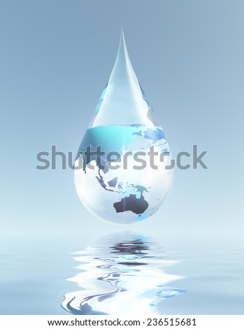 Australia and Asia droplet Elements of this image furnished by NASA - stock photo