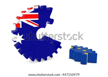 Australia and Europe Relations Concept 3D Cog Flag Puzzle Illustration - stock photo