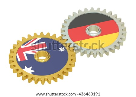 Australia and Germany flags on a gears, 3D rendering isolated on white background