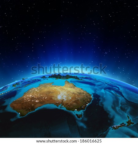 Australia and New Zeland. Elements of this image furnished by NASA - stock photo