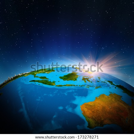 Australia and Oceania from space. Elements of this image furnished by NASA - stock photo