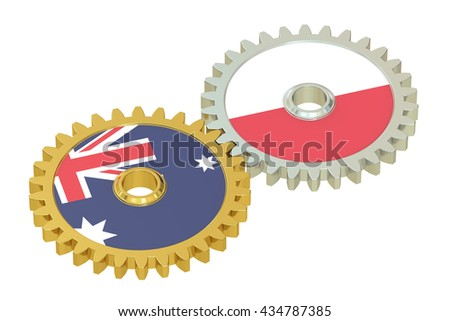 Australia and Poland flags on a gears, 3D rendering isolated on white background