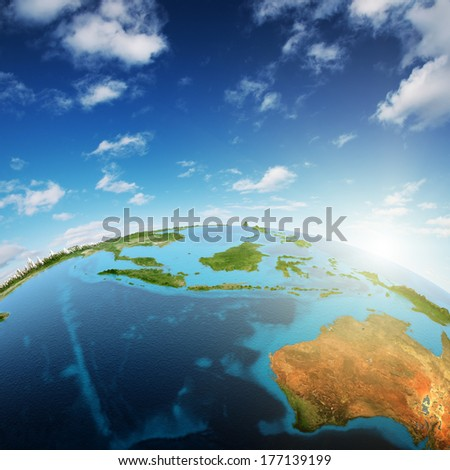 Australia and South-East Asia. Elements of this image furnished by NASA - stock photo