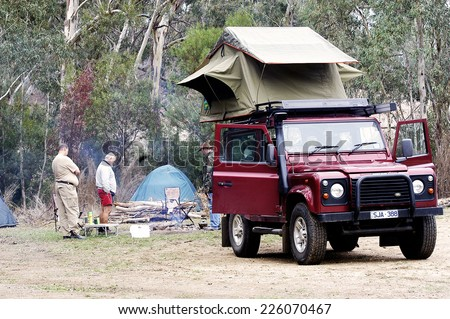 AUSTRALIA - APRIL 22  All-terrain vehicle equipped for c&ing with a tent on & Australia April 22 Allterrain Vehicle Equipped Stock Photo ...
