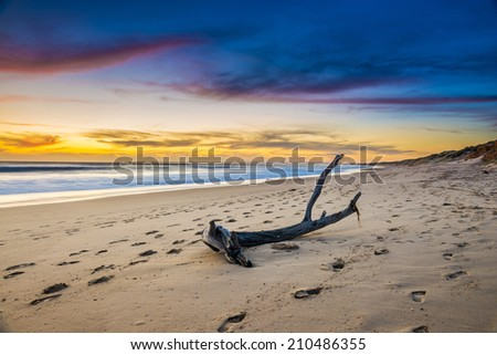 Australia beach sunrise over ocean