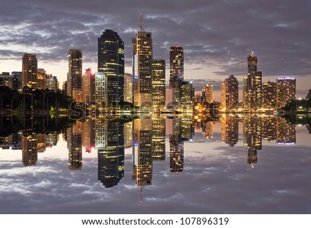 Australia Brisbane City Night - stock photo
