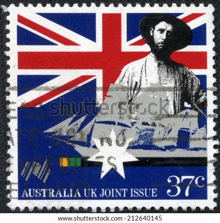 AUSTRALIA - CIRCA 1988:A Cancelled postage stamp from Australia illustrating a joint issue with the UK, issued in 1988.