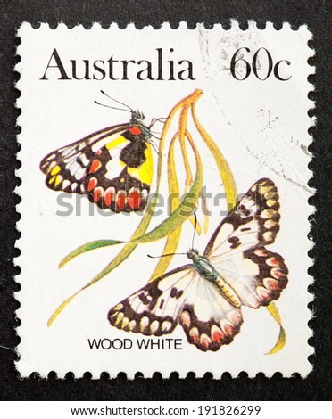 AUSTRALIA - CIRCA 1983:A Cancelled postage stamp from Australia illustrating Australian Butterflies, issued in 1983.