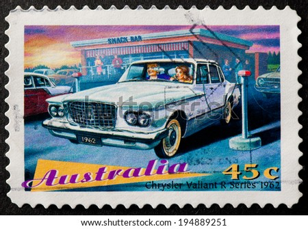 AUSTRALIA - CIRCA 1997:A Cancelled postage stamp from Australia illustrating Classic Cars, issued in 1997.