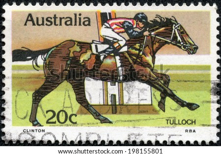 AUSTRALIA - CIRCA 1978:A Cancelled postage stamp from Australia illustrating Horse Racing, issued in 1978.