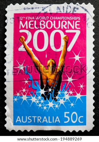 AUSTRALIA - CIRCA 2007:A Cancelled postage stamp from Australia illustrating Melbourne Swimming world Championships, issued in 2007.