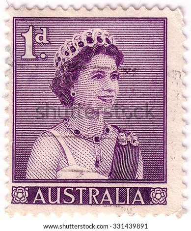 AUSTRALIA - CIRCA 1959:A Cancelled postage stamp from Australia illustrating Queen Elizabeth II, issued in 1959. - stock photo