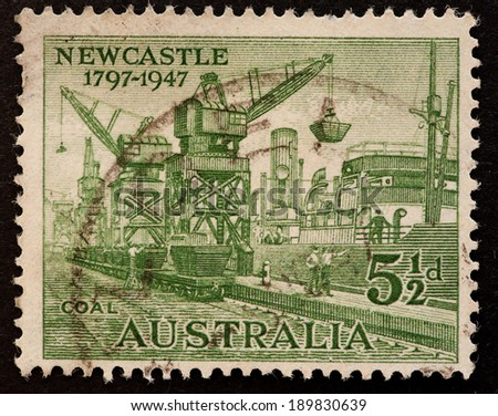 AUSTRALIA - CIRCA 1947:A Cancelled postage stamp from Australia illustrating 150th anniversary city of Newcastle, issued in 1947.