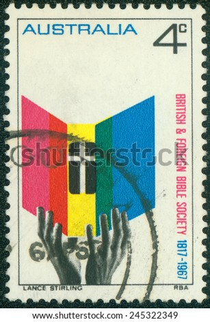 AUSTRALIA - CIRCA 1967:A Cancelled postage stamp from Australia illustrating 150th anniversary of British and Foreign Bible Society, issued in 1967. - stock photo