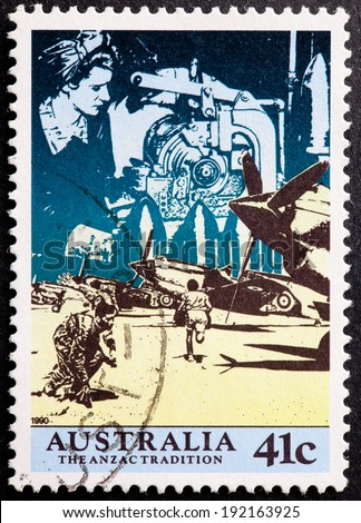 AUSTRALIA - CIRCA 1990:A Cancelled postage stamp from Australia illustrating The Anzac tradition, issued in 1990.