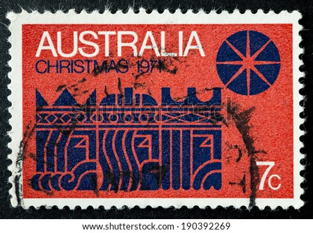 AUSTRALIA - CIRCA 1971:A Cancelled postage stamp from Australia illustrating The Three Kings and the Star, issued in 1971.
