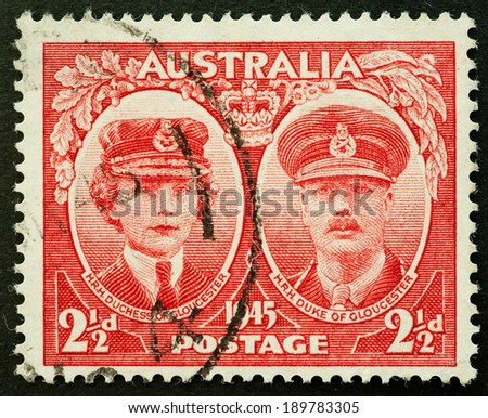 AUSTRALIA - CIRCA 1945:A Cancelled postage stamp from Australia illustrating visit of duke and duchess of gloucester, issued in 1945 - stock photo