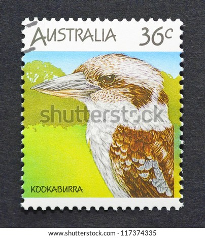 AUSTRALIA -Â?Â? CIRCA 1986: A postage stamp printed in Australia showing an image of an kookaburra, circa 1986. - stock photo