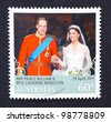 AUSTRALIA - CIRCA 2011: A postage stamp printed in Australia shows an image of Prince Williams and Kate Middleton royal wedding, circa 2011. - stock photo