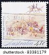 """AUSTRALIA - CIRCA 1990: A stamp from Australia shows image """"Off to the Diggings"""", from the Gold Rush series, circa 1990 - stock photo"""