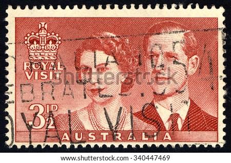 AUSTRALIA - CIRCA 1954: A stamp in Australia dedicated to Royal Visit of Queen Elizabeth II and the Duke of Edinburgh, circa 1954 - stock photo