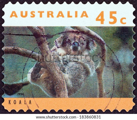 "AUSTRALIA - CIRCA 1994: A stamp printed in Australia from the ""Australian Wildlife (2nd series) "" issue shows koala, circa 1994."