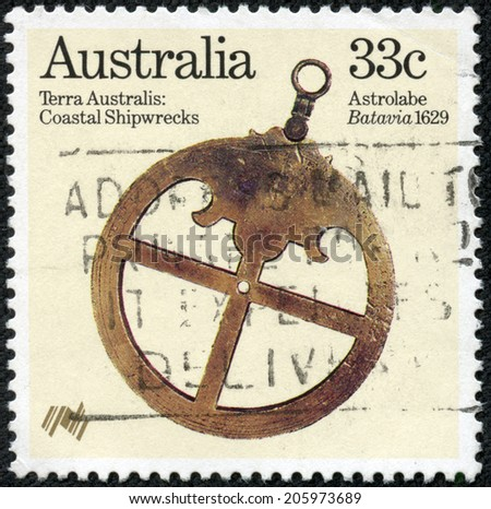 "AUSTRALIA - CIRCA 1985: A stamp printed in Australia from the ""Bicentenary (1988) of Australian settlement (3rd issue). Relics from early shipwrecks"" issue shows Astrolabe (Batavia 1629), circa 1985. - stock photo"