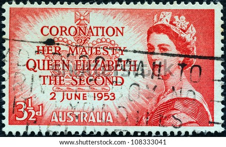 "AUSTRALIA - CIRCA 1953: A stamp printed in Australia from the ""Coronation"" issue shows a portrait of Queen Elizabeth II, circa 1953. - stock photo"
