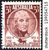 "AUSTRALIA - CIRCA 1953: A stamp printed in Australia from the ""150th anniversary of settlement in Tasmania"" issue shows Lieutenant-Governor David Collins, circa 1953. - stock photo"