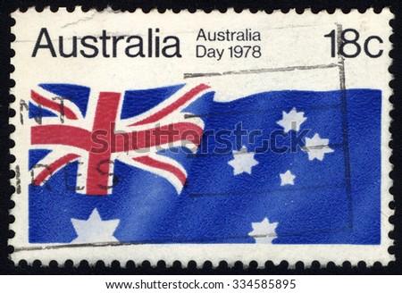 AUSTRALIA - CIRCA 1978: A stamp printed in Australia honoring Australia Day shows flag of Australia , circa 1978 - stock photo