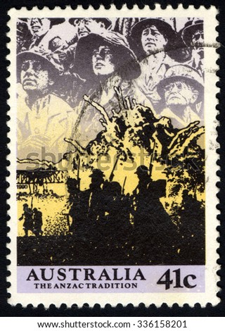 AUSTRALIA - CIRCA 1990: A stamp printed in Australia illustrating Scenes from WW II, 1940-41, The Anzac Tradition series, circa 1990 - stock photo