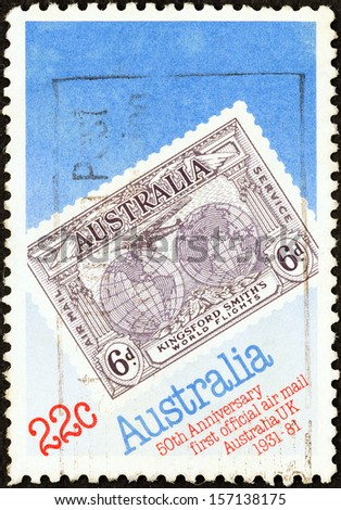 AUSTRALIA - CIRCA 1981: A stamp printed in Australia issued for the 50th anniversary of Official Australia - UK Airmail Service shows 1931 Kingsford Smith's Flights Commemorative stamp, circa 1981.