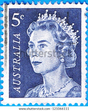 AUSTRALIA - CIRCA 1967: A stamp printed in Australia shows a portrait of Queen Elizabeth II, circa 1967 - stock photo