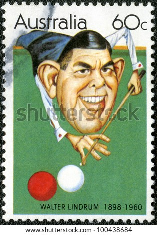 AUSTRALIA - CIRCA 1981: A stamp printed in Australia shows Australian sportsmen (Caricatures by Tony Rafty): Walter Lindrum (1898-1960), billiards player, circa 1981