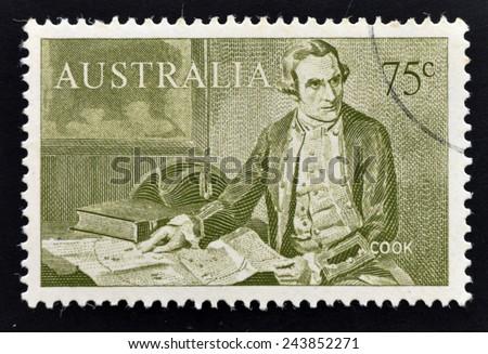 AUSTRALIA - CIRCA 1963: A stamp printed in Australia shows Captain James Cook (1728-1779), circa 1963 - stock photo
