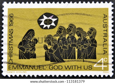 AUSTRALIA - CIRCA 1966: A stamp printed in Australia shows Christmas, Emmanuel, God with us, circa 1966 - stock photo