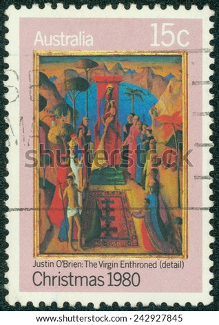AUSTRALIA - CIRCA 1980: A stamp printed in Australia shows detail of draw Virgin Enthroned by Justin O'Brien, circa 1980 - stock photo