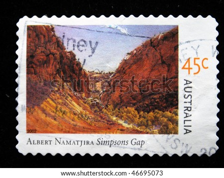 "AUSTRALIA - CIRCA 2002: A stamp printed in Australia shows draw by artist Albert Namatjira ""Simpsons Gap"", circa 2002"