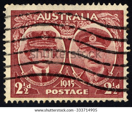 AUSTRALIA - CIRCA 1945: A stamp printed in Australia, shows Duchess and Duke of Gloucester, circa 1945