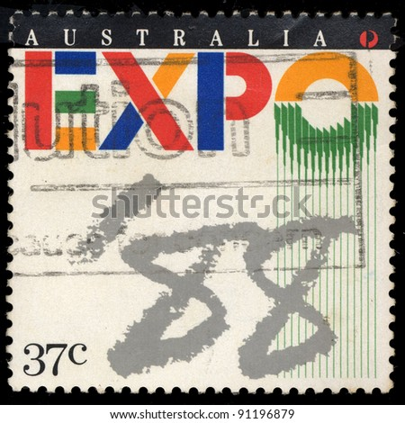AUSTRALIA - CIRCA 1988: A stamp printed in Australia shows EXPO 88, circa 1988 - stock photo