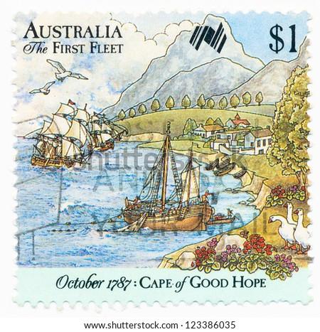 AUSTRALIA - CIRCA 1987: A stamp printed in Australia shows First Fleet ...