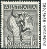 AUSTRALIA-CIRCA 1949: A stamp printed in Australia, shows Hermes and the Globe, circa 1949 - stock photo