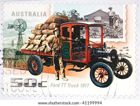 AUSTRALIA - CIRCA 2006: A stamp printed in Australia shows image of a 1917 Ford TT truck, series, circa 2006 - stock photo