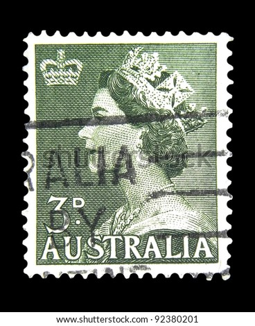 "AUSTRALIA - CIRCA 1953: A stamp printed in Australia shows image of Elizabeth II and crown without the inscription from series ""Queen Elizabeth II"", circa 1953"